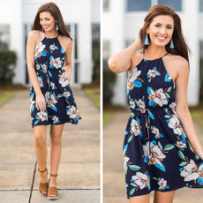 Fashion Leisure Printed Lady Dresses with Backs