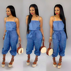 Casual solid color loose suspender JUMPSUIT
