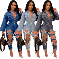 Fashionable loose and hollow jean Jumpsuit