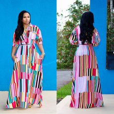 Bohemian dress with colour stripes