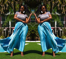 Summer mid-high waist pleated skirt