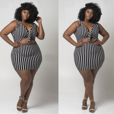 Two sets of black and white striped miniskirt