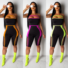 Fashion mesh splicing perspective brassiere slim Jumpsuit