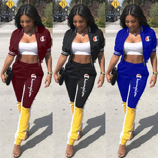 Fashion Leisure Letter Embroidery Two-piece Set