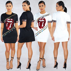 Fashion sexy 2-color dress with big mouth and short sleeves