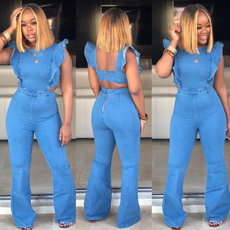 Summer Jeans Flared Sleeve Loose-back Jumpsuit