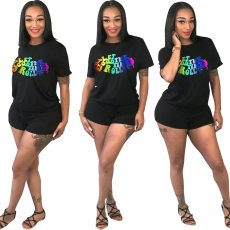 Sexy T-shirt Shorts Rainbow Letter Two-piece Set