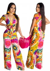 Personality Sunflower Rendering and Leisure Two-piece Set