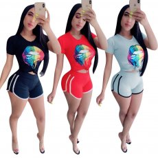 Fashion Leisure Lip Offset Sports Shorts Two-piece Set