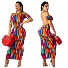 Fashion colour-matched printed dew-back dress