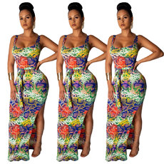Multicolored Serpentine Printed Open Crossed Dresses