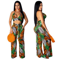 Palm Leaf Printing Sexy Two-piece Set