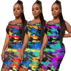 Slimming hip-wrapped camouflage suspension dress