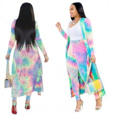 Fashion tie-dyed cloak + tights two-piece suit