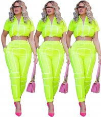 Pure color splicing zipper line two pieces sets