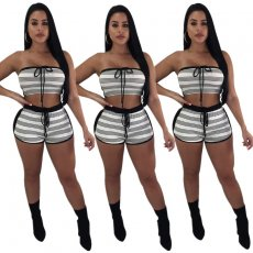 Stripe Band Two-piece Brassiere Suit