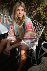 Multicolored fringed beach Knitted Blouse
