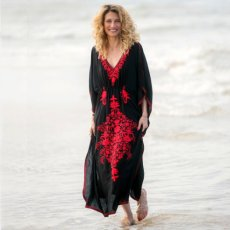 Loose embroidered robe beach blouse
