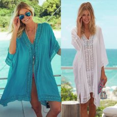 Chiffon crinkled multi-lace loose beach blouse