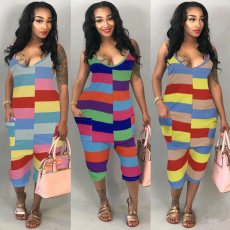 Coloured striped suspender pants