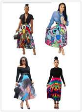 Printed pendulum pleated skirt
