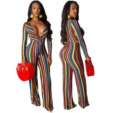 Multi-color striped printed V-neck sexy long-sleeved JUMPSUIT