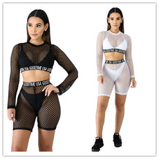 Elastic mesh cloth perspective sexy fashion leisure two sets