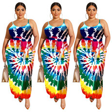 Colour large-size fashionable printed suspended dress