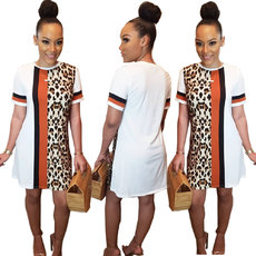 Fashion Leopard Stripe Printed Dress