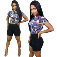 Fashion Printing and Leisure Two-piece Set