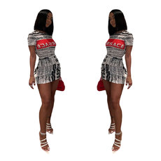 Classic Newspaper Printed Location Dresses