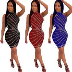Irregular hot drill high waist sexy party dress