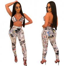 Newspaper Printing Sexy Two-piece Set