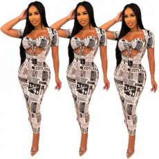 Sexy Brassiere Newspaper Printed Leisure Suit