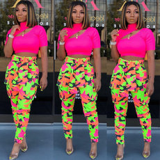 Fashion neon casual pants (with belt)