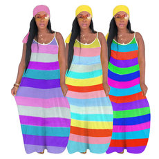 Lovely Rainbow Striped Dress