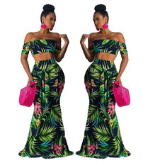 Two-piece sets of fashionable floral dresses