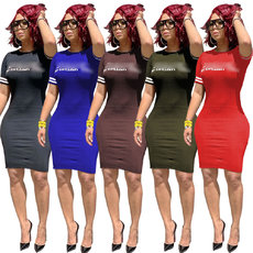 Letter Printed Casual Pure Color Dresses
