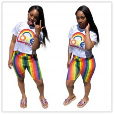 Digital Printing Leisure Rainbow Two-piece Set