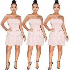 Stripe elastic breast-wrapped butterfly strap-on skirt suit