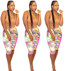 Fashion Cartoon Printed 7-minute Pants for Women