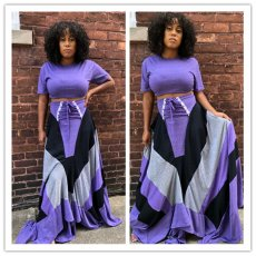 Purple Short Sleeve + Half-length Skirt Two-piece Set
