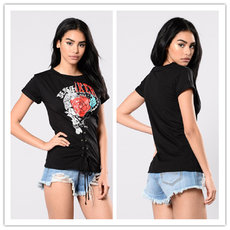 Black Healthy Cloth T-shirt with Short Sleeve and Round Neck