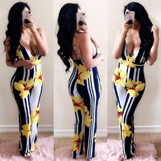 Flower Printed Deep V Broad-legged Couplet Jumpsuits