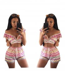 Wave pattern swimsuit and swimming trunks two-piece suit