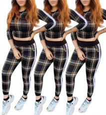 Chequered Fashion and Leisure Two-piece Set