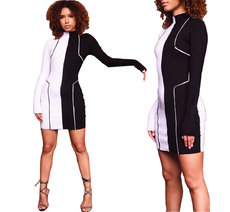 Black-and-white stitched long-sleeved dress