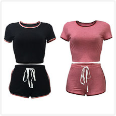 Two-pieces sets of pure color stitching for leisure sports