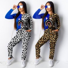 European and American Fashion Shark Mouth Painted Leopard Pattern Two-piece Set