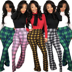 Plaid casual bell trousers (four colors)